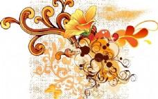 彩色漩涡花形矢量图