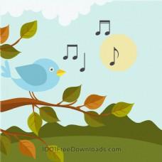 音乐插图与鸟