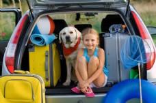 坐车旅游的小女孩和狗图片
