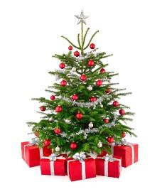 红色礼盒与圣诞树图片