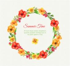 水彩绘夏季花环矢量素材