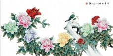 牡丹花从背景墙