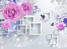 3D方框玫瑰花