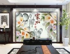 国画水墨玉雕时尚电视机背景墙设计素材