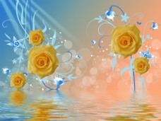 黄色花朵背景装饰画