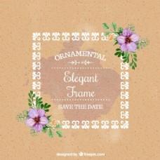 水彩花婚礼卡与装饰框架
