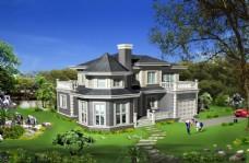 别墅景观园林效果图片