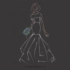 手绘新娘礼服草图