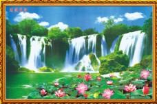 荷花瀑布图片