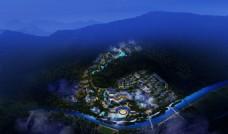 温泉度假小镇鸟瞰图