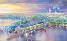 迪士尼小镇湖畔效果图