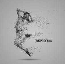 女孩跳舞剪影