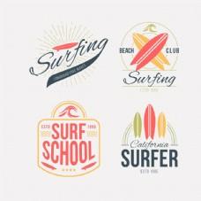 复古风格冲浪徽章
