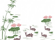 硅藻泥花纹 荷花鲤鱼