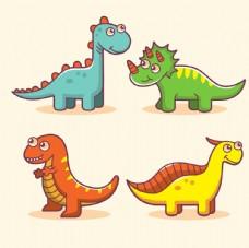 有趣的彩色恐龙