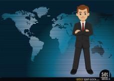 一个世界地图背景的商人