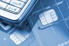 藍色手機卡與手機圖片