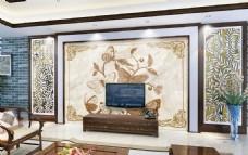 花积岩石电视背景墙设计素材