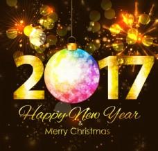2017新年圣诞海报矢量图