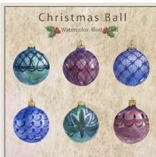 复古六款手绘水彩圣诞装饰球