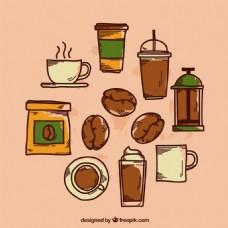 咖啡咖啡杯元素