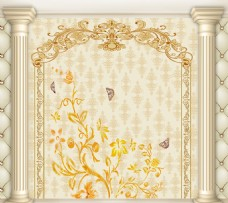 欧式花纹背景墙