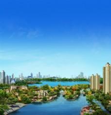 房地产园林湖景效果图