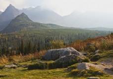 远山草地岩石